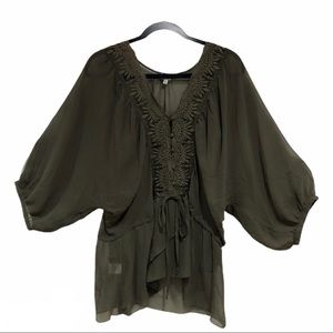 Charming Charlie Olive Dolman Sheer Lace Blouse XL
